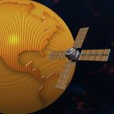 Satelite sputnik orbiting earth in space. Satelite sputnik orbiting 3d earth in space Stock Photography