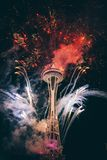 Satelite Tower With Fireworks Stock Photo