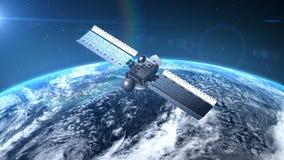 Satelitte bringt die Erde in Umlauf stock abbildung