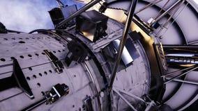 Satelitte im Platz Ansicht der Erde SONNENAUFGANG Animation 4K lizenzfreie abbildung
