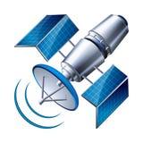 Satelitte lokalisiert auf weißem Hintergrund Stockfotografie