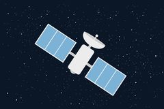 Satelitte in space - scientific and technologic device and equipment on orbit royalty free stock photography