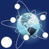 Satelitte sperrt äußeren Exemplarplatz der Bahn Erde Stockbild