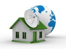 Satelliet antenne op huis vector illustratie