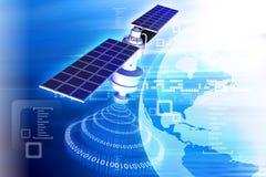 Satelliet bij de Aardebaan Stock Fotografie