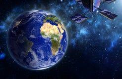Satelliet boven aarde De elementen van dit beeld worden geleverd door N royalty-vrije stock fotografie