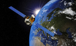 Satelliet cirkelende aarde Stock Fotografie