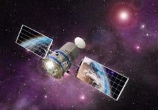 Satelliet die de Aarde cirkelen Royalty-vrije Stock Foto's