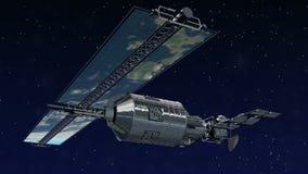 Satelliet die over Aarde vliegt vector illustratie