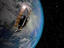 Satelliet en Aarde Royalty-vrije Stock Afbeelding