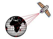 Satelliet en aarde stock illustratie