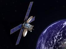 Satelliet en aarde Stock Foto's
