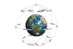 Satelliet en aarde Stock Afbeelding