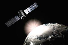 Satelliet en aarde Stock Fotografie