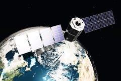 Satelliet en aarde Stock Afbeeldingen