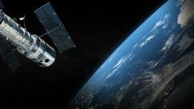 Satelliet en aardeplaneet in de kosmische ruimte royalty-vrije illustratie
