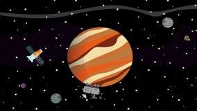 Satelliet en Ruimterover collecting data van Planeet Jupiter royalty-vrije illustratie