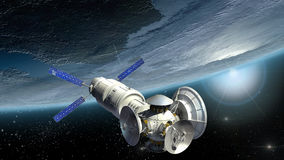 Satelliet het onderzoeken Aarde Stock Foto