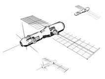 Satelliet - Industriële illustratie Stock Afbeelding