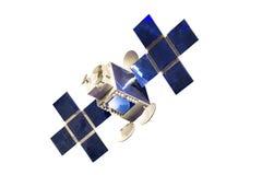 Satelliet met het model van het zonnecelpaneel op witte achtergrond met het knippen van weg wordt geïsoleerd die stock foto's