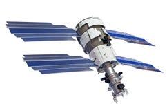 Satelliet met vier zonnepanelen voor het klinken van de aarde, op witte achtergrond Stock Afbeelding