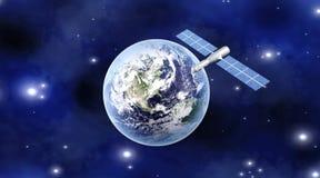 Satelliet over de Aarde stock illustratie