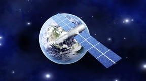 Satelliet over de Aarde royalty-vrije illustratie