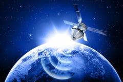 Satelliet in ruimte Stock Afbeeldingen