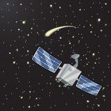 Satelliet in ruimte onder de sterren Royalty-vrije Stock Afbeelding