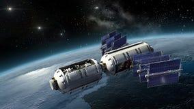 Satelliet, spacelab of ruimtevaartuig het onderzoeken Aarde Stock Foto's