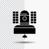 Satelliet, uitzending, het uitzenden, mededeling, het Pictogram van telecommunicatieglyph op Transparante Achtergrond Zwart picto royalty-vrije illustratie