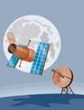 Satelliet verzendend signaal royalty-vrije illustratie