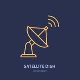 Satelliet vlak de lijnpictogram van de schotelantenne Draadloos technologieteken Vectorillustratie van internerverbinding royalty-vrije illustratie
