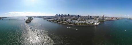 Satellietbeeld 360 de haven van panoramamontreal, brug Concorde en brug Jacques Cartier stock foto