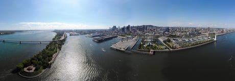 Satellietbeeld 360 de oude haven van panoramamontreal met stedelijke architectuur stock afbeelding