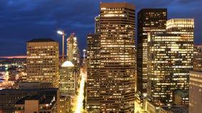 Satellietbeeld de stadscentrum van van Seattle, Washington bij nacht royalty-vrije stock afbeeldingen