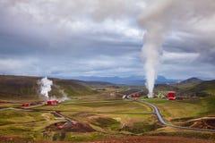 Satellietbeeld Noordoostelijk IJsland Scandinavië van de Krafla het geothermische elektrische centrale stock fotografie