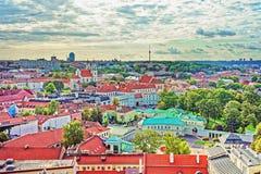 Satellietbeeld op Presidentieel Paleis van Vilnius stock afbeelding