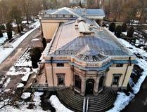 Satellietbeeld op Shcherbatova-gravinpaleis in sanatoriumpark in Nemyriv, Vinnytsya-gebied, de Oekraïne stock afbeelding