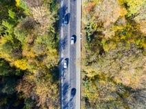 Satellietbeeld over auto die door kleurrijk bos reizen stock afbeelding