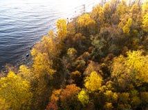 Satellietbeeld over bos tijdens trillende de herfstkleuren Satellietbeeld van kust met steen Kustlijn met zand en water Luchtdr. stock foto