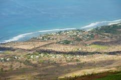 Satellietbeeld over de kust van Indische Oceaan in Les Colimatons Les Hauts bij Bijeenkomsteiland, het Frans overzee stock fotografie