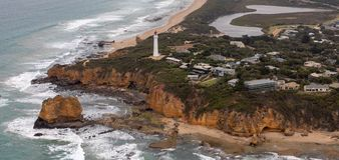 Satellietbeeld van Aireys-Inhamvuurtoren, Victoria, Australië royalty-vrije stock afbeeldingen