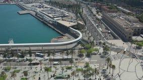 Satellietbeeld van Barcelona met haven en Montjuic