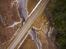 Satellietbeeld van Bevroren Slough en ecologisch Rich Wetland royalty-vrije stock foto
