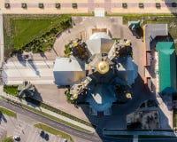 Satellietbeeld van boven een bovenkant van Alexander Nevsky Cathedral stock foto's