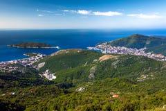 Satellietbeeld van Budva en Becici, Montenegro stock foto