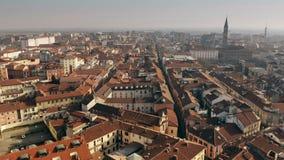 Satellietbeeld van centraal deel van Alexandria Piemonte, Italië stock footage