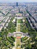 Satellietbeeld van centraal Parijs van de Toren van Eiffel stock foto's