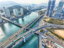 Satellietbeeld van Centum-Stadsverkeer in Haeundae, Busan, Zuid-Korea, Azië stock fotografie
